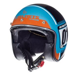 Κράνος MT Le Mans SV Numberplate τιρκουάζ-fluo πορτοκαλί